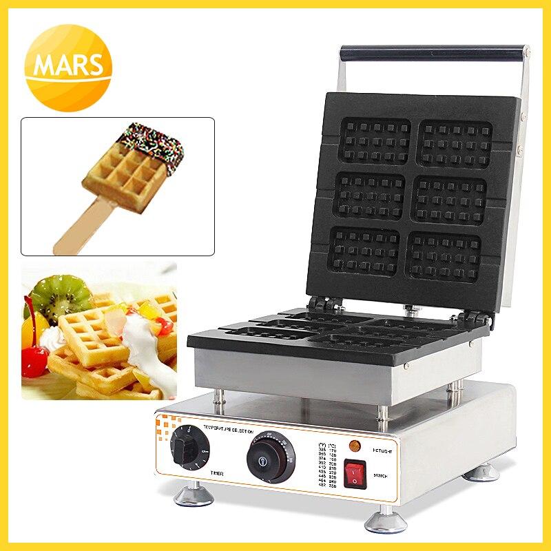 Non-stick 6pcs square belgium waffle maker iron on a stick waffle buscuit machine baker for wholesale