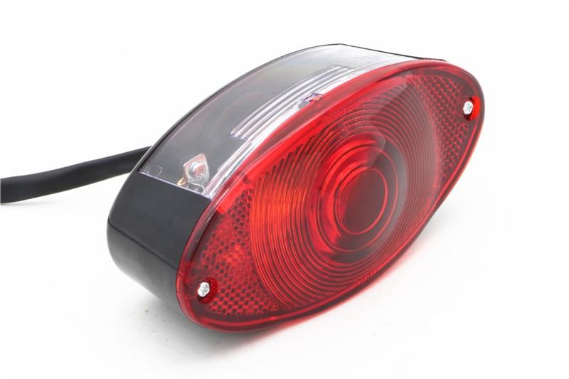 MOTOWOLF, faro trasero de ojo de gato para motocicleta, luz roja de 12V para Harley de helicóptero E-MARK
