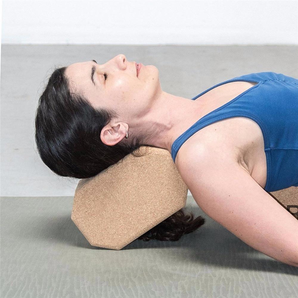 Cork Wood Yoga Block Exercise Fitness High Density Practice Tool Natural Non-Slip Brick Home Health Gym