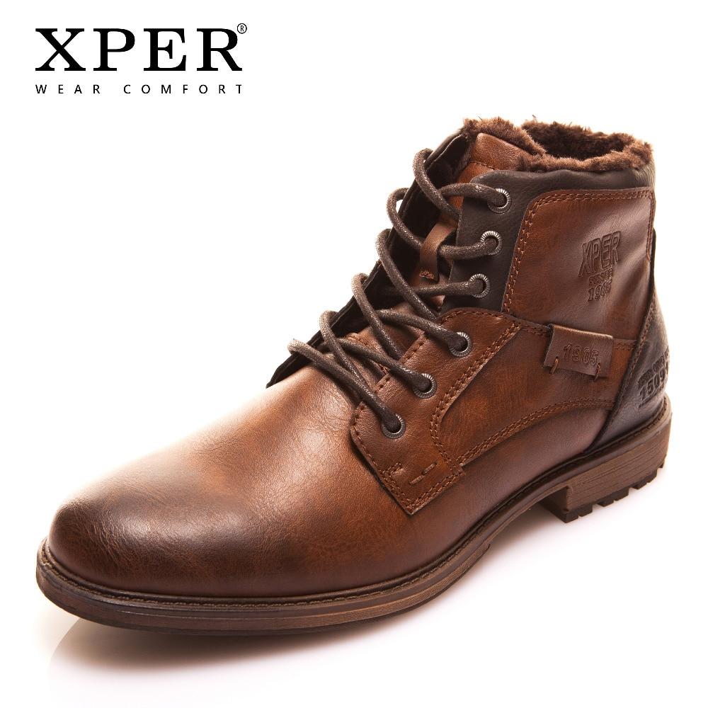 Xper outono inverno moda botas masculinas estilo vintage casual sapatos de renda quente pelúcia à prova dxágua botas de motocicleta xhy12504br/m