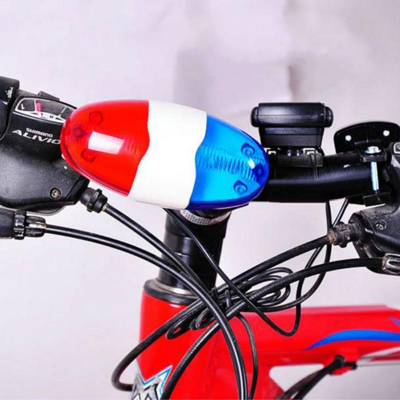 עמיד עמיד למים תכליתי מחזור מנורת + 4 סירנת קול חצוצרה משטרת 6 LED אור אלקטרוני סירנה אופני פעמון אדום/כחול