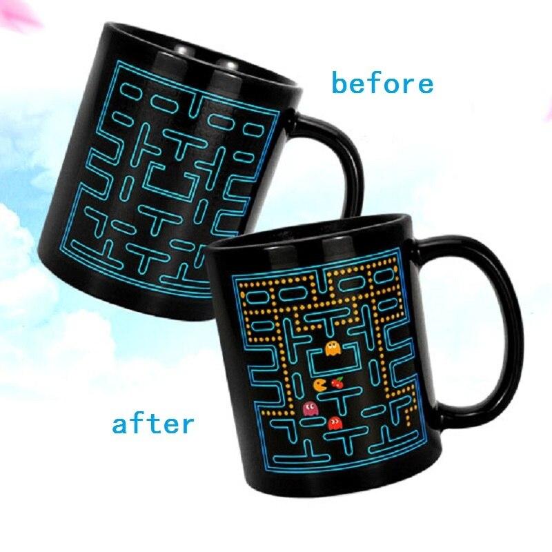 Nueva taza de decoloración de cerámica Copa Marc Sense Eat Bean PAC Man taza de cambio de Color deformación café Tazas para té Caneca Tazas