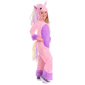 Lovely Soft Plush Rainbow Pony Costume Child Pony Halloween Costume Girl's Pink Horse Animal Costume