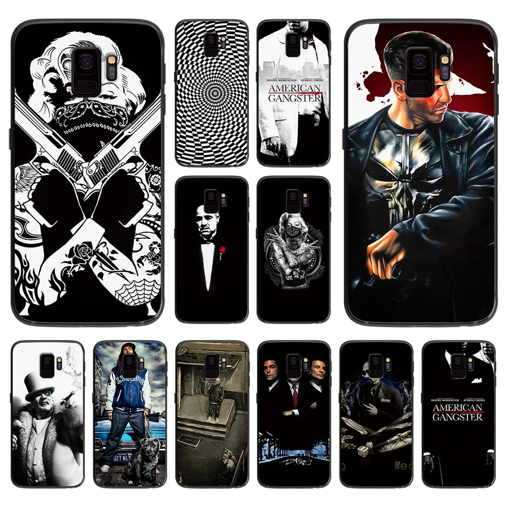 Preto Reacionário gang Marilyn Monroe macio case capa do telefone para Samsung Galaxy S6 S7 S8 S9 S10e Plus Nota 8 casos 9