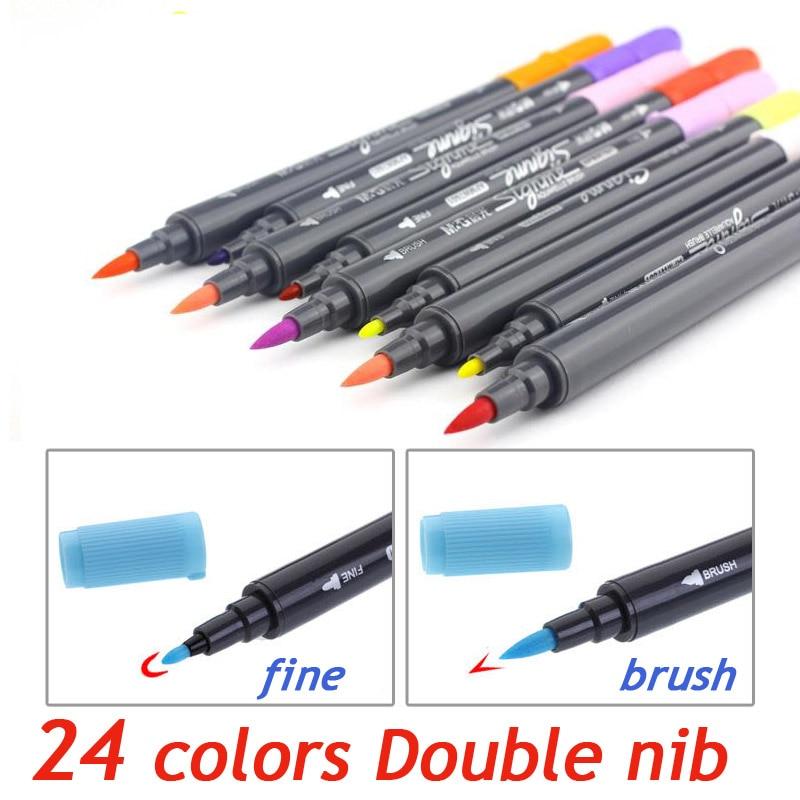 Art Graphic Drawing Manga AQUARELLE watercolour Ink Twin Tip Brushand Fine nib Sketch Marker Pen 12 18 24 Colors  SET Brush Pen