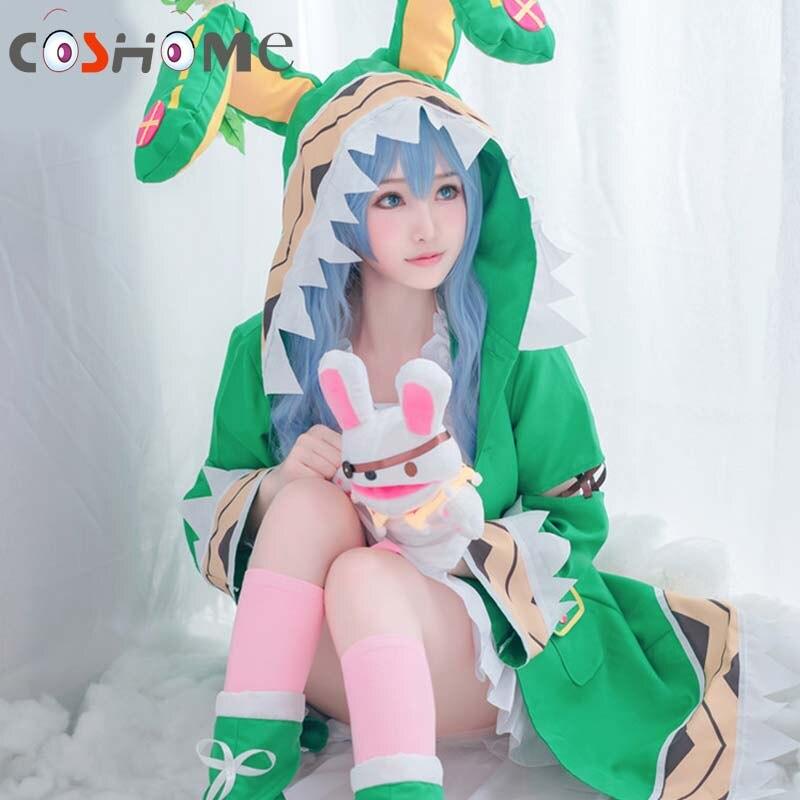 Coshome Date Live Yoshino Cosplay Costumes W Green Hooded Women Girls Coat Halloween Costume with Socks
