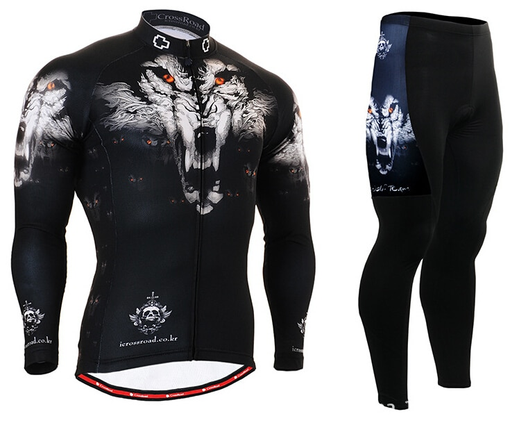 HOT Mens Cycling Jerseys Breathable Mountain Bike Clothing Wolf Long Sleeve Cycling Clothings Wolf Head
