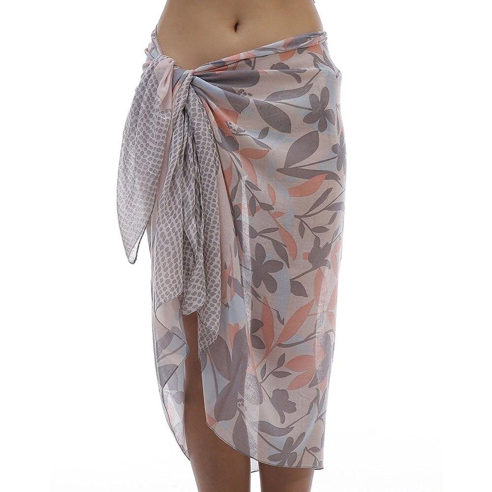 Moda mujer Sarongs Floral suave viscosa Bikini Pareo playa Sarong Swim Wrap Batik traje de baño Coverups V9A18824