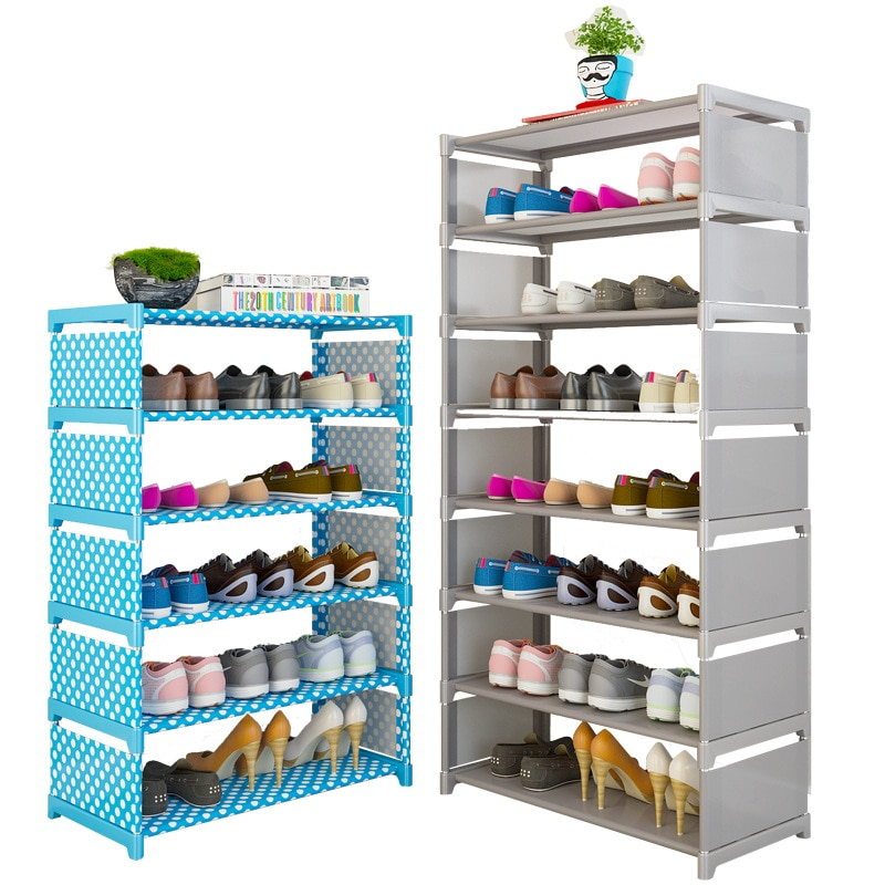 Simples sapato rack de casa fácil montagem sapatos não tecidos prateleira móveis entrada armazenamento organizador espaço de poupança sapato armário