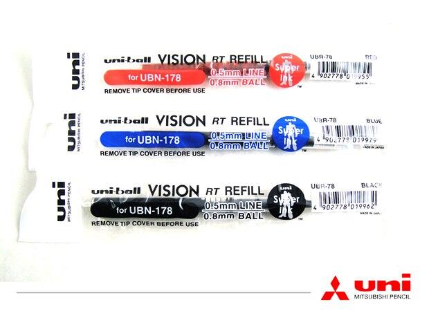 UNI UBR-78 marca japonesa 5 unids/lote recambio de pluma de Gel en 3 colores para bolígrafos de Gel