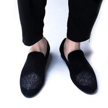 Royal Bleu Noir Velours Mocassins pour hommes talon Plat de Conduite Paresseux Bateaux De Mariage Chaussures