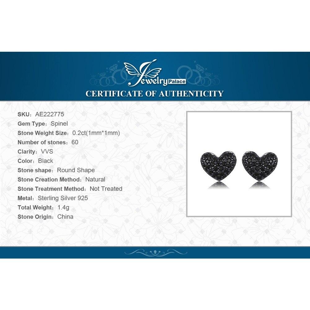 Купить с кэшбэком JewelryPalace  Love Heart Genuine Black Spinel Stud Earrings 925 Sterling Silver Earrings Women Korean Earings Fashion Jewelry