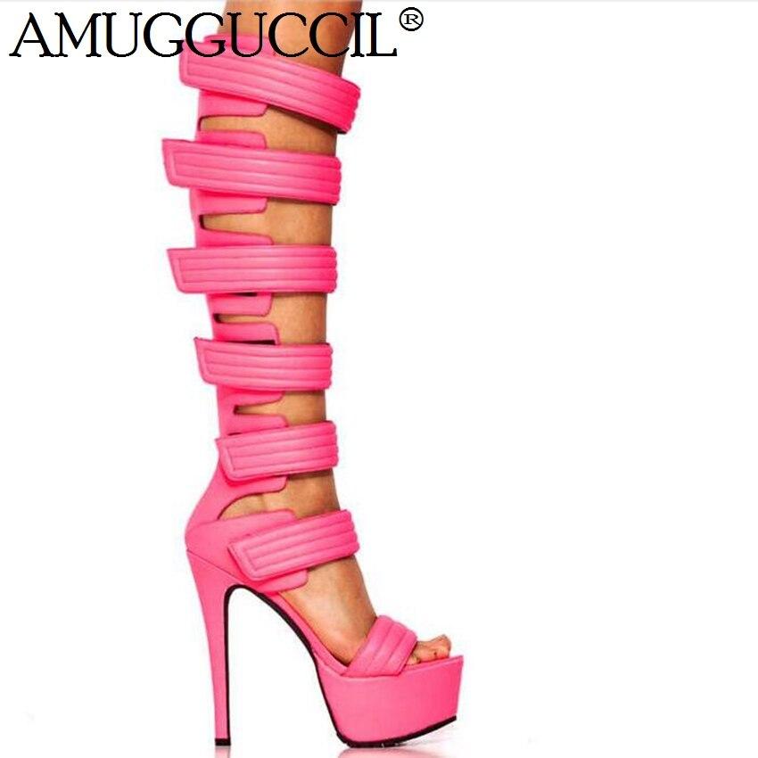 2020 New Plus Big Size 35-52 Black White Pink Fashion Sexy High Heel Platform Party Summer Female Ladies Women Sandals L1055