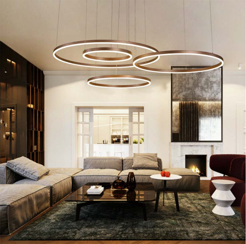 BOKT Modern Led Chandelier Lighting Gold Brown Living Room Dining Room Aluminum Body 1/2/3 Circle Rings Acrylic Hanging Lamp enlarge