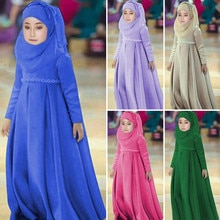 MUQGEW 1Y-6Y Toddler Baby Kid Girl Ramadan Muslim Abaya Dubai Robe Traditional Clothing Dress Outfit Clothing Set #SS