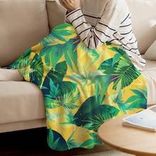 WARMTOUR Throw Blanket Tropical Plant Illustration Summer Throw Blanket Leaves Banana Leaf Soft Warm Microfiber Blanket