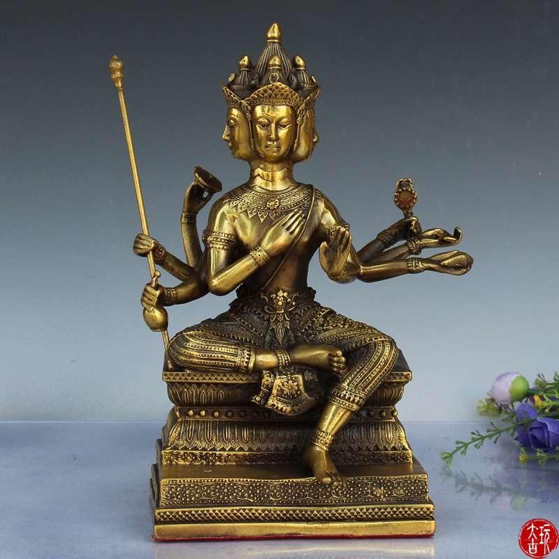 Estatua de bronce de Buda de cuatro caras y ocho brazos, estatua de Buda de la antigua dinastía Qing, estatua de Buda de Brahma, decoraciones de decoración