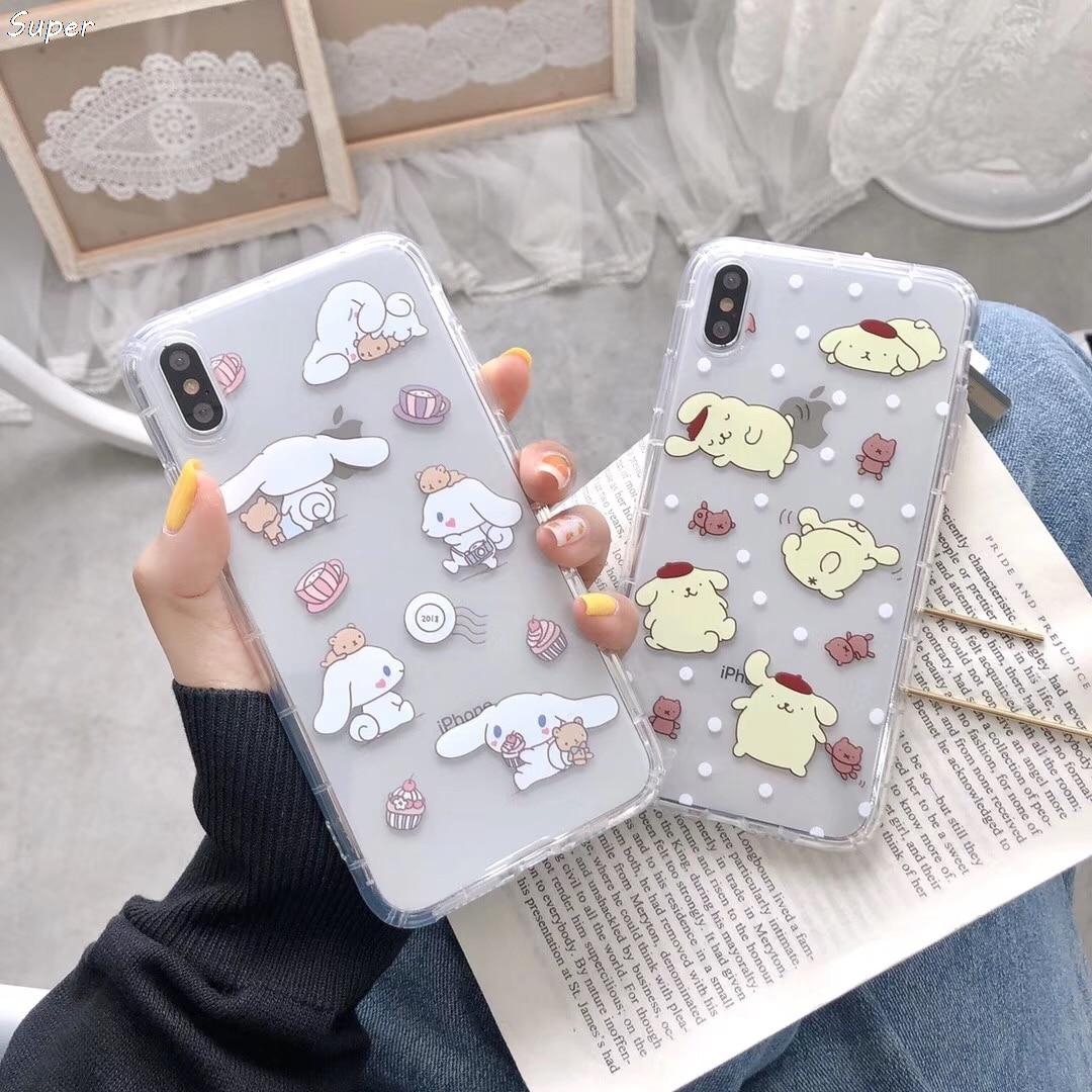 Funda de teléfono coreana INS Cinnamoroll My Melody para iPhone SE X XS Max Xr 8 7 6 6s Plus, funda transparente de dibujos animados de Anime japonés