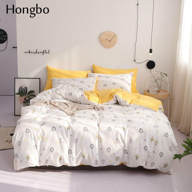هونغبو القليل الأسد المطبوعة غطاء لحاف مجموعة 100% القطن الفراش مجموعة الأبيض و الأصفر الأسد السرير لينة أغطية