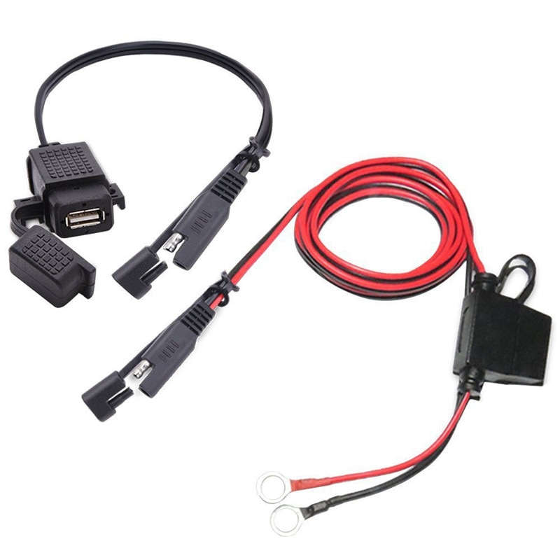 360 Degree Rotating Mounting Holder For SAE To USB Cable Adapter Quick 2.1A Quick Connector for Motorcycle Double Usb Charging