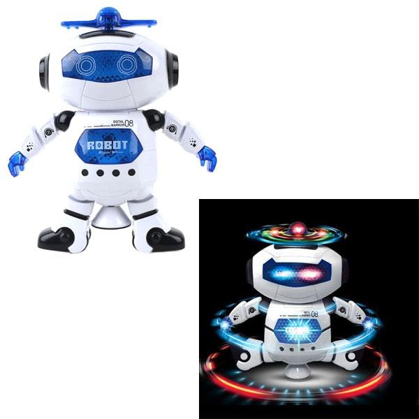 Robot de baile espacial inteligente giratorio 360, juguetes electrónicos para caminar con luz musical para niños, juguete de astronauta, regalo de cumpleaños de Navidad