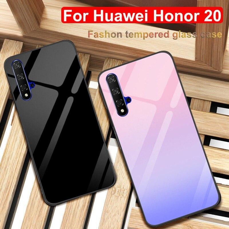 """Para Huawei Honor 20 funda 6,26 """"YAL-AL00 cubierta de teléfono de vidrio templado Honor 20 carcasa para Huawei Honor 20 gradiente cáscara de cristal"""