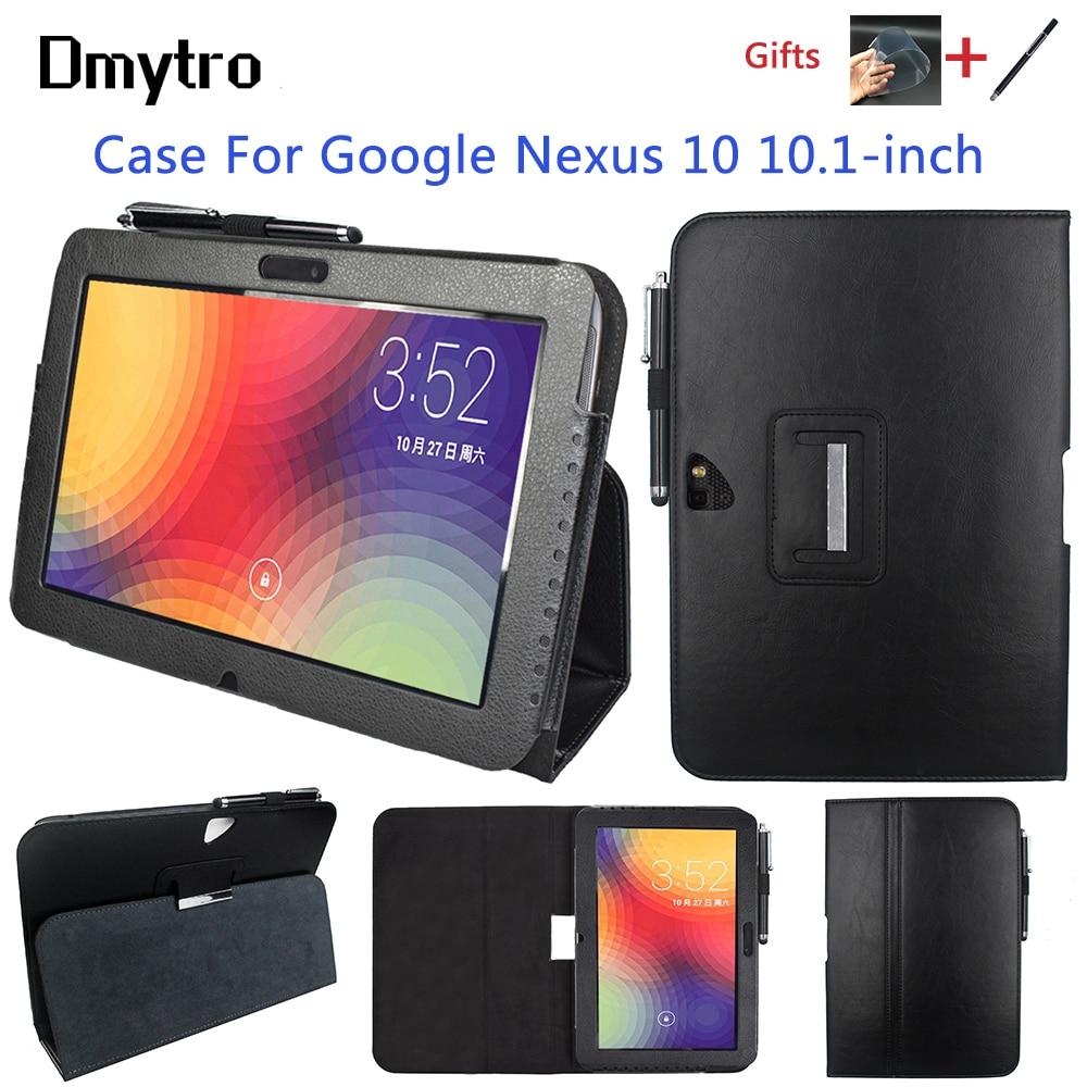 جراب جلد PU لجهاز Google Nexus ، 10 بوصة ، نحيف ، قابل للطي ، حامل ذكي ، جراب مع النوم/الاستيقاظ ، هديتين مجانيتين