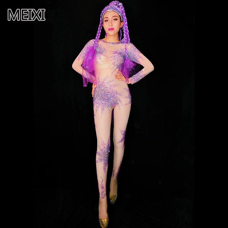 Super sexy líquido violeta flores florescem em strass macacão partido bar cantor concerto/trajes dançarino