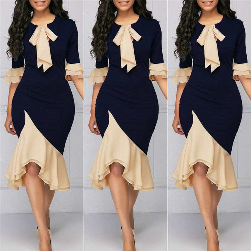 Women Formal Dresses Evening Gown Party Ball Prom Gown Dress Navy Blue Bandage Bow Knot Splice Dress S-XXXXL