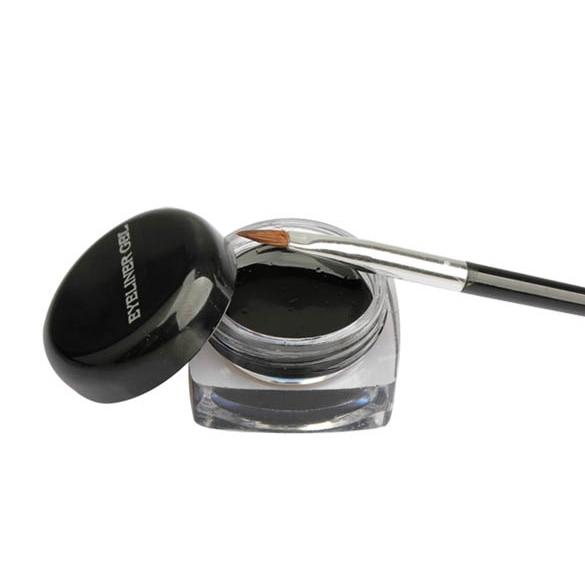 1x cosméticos eye liner maquiagem preto à prova deyelágua delineador gel creme com escova 88