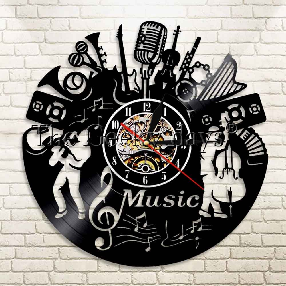 1Piece Vinyl Music Record Wall Clock Music Rock and Roll Vinyl Clock Vinyl LP Record Music Wall Art Vintage Clock