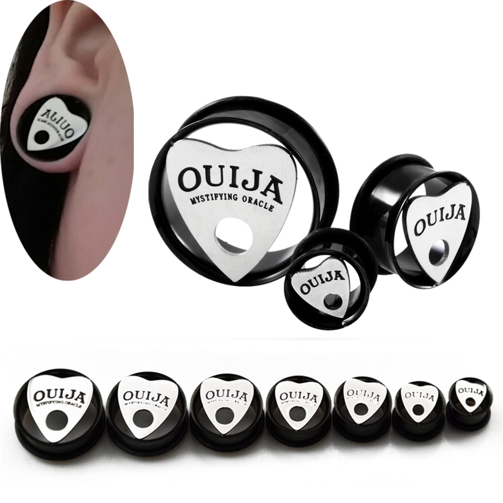 2pcs OUIJA Eyelet Single Flared Flesh Tunnel 10mm-30mm Ear Plug Gauges Earrings  Hollow Plug Expander Ear Stretching