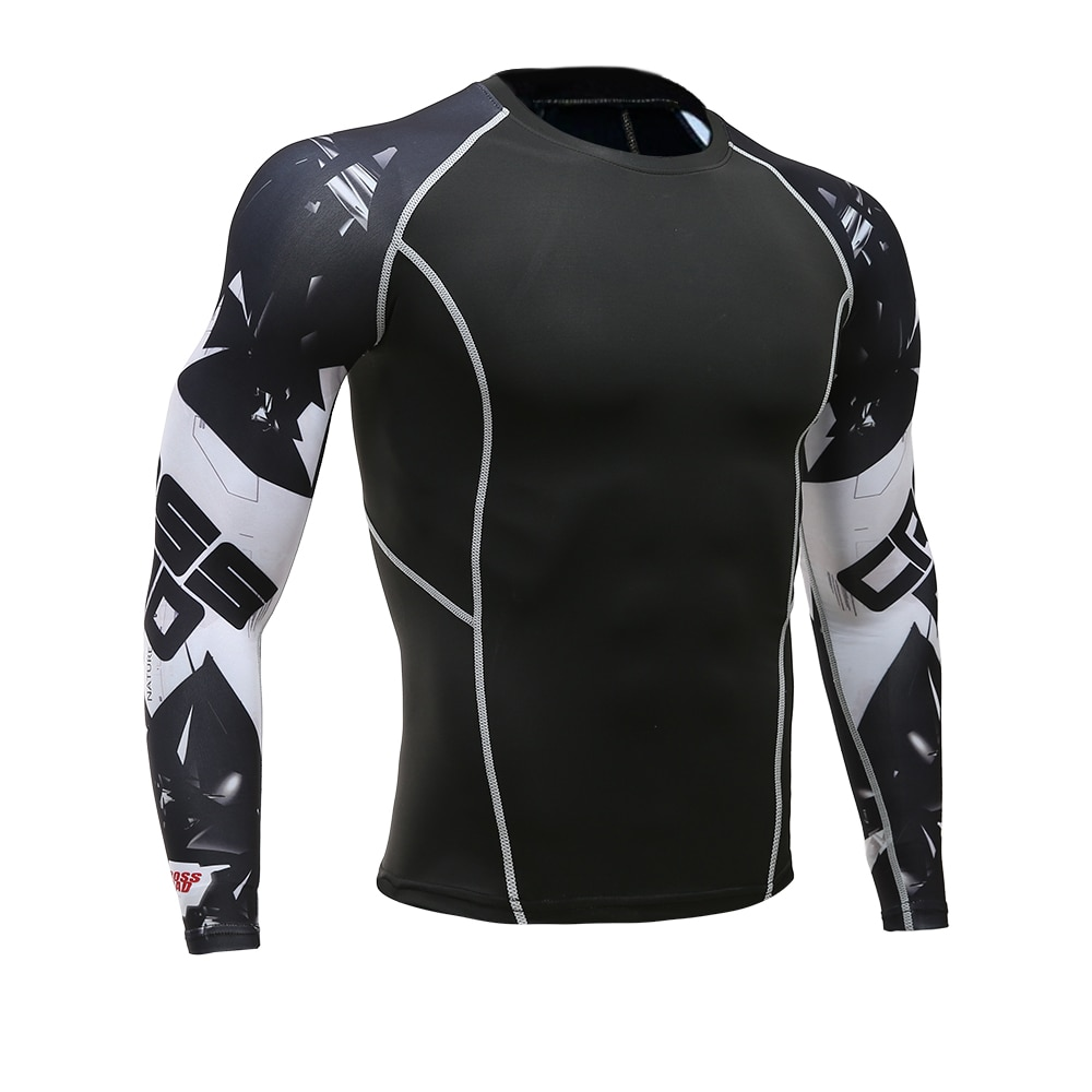 Camisa de compressão 3d teen wolf camisas de manga longa t camisa de fitness dos homens lycra mma cross fit t-shirts collants roupas marca
