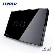 Livolo 220V/50-60HZ, panneau en verre de cristal de luxe de commutateur intelligent, VL-C303DR-82, norme américaine/AU, gradateur et commutateur à distance de lumière de mur