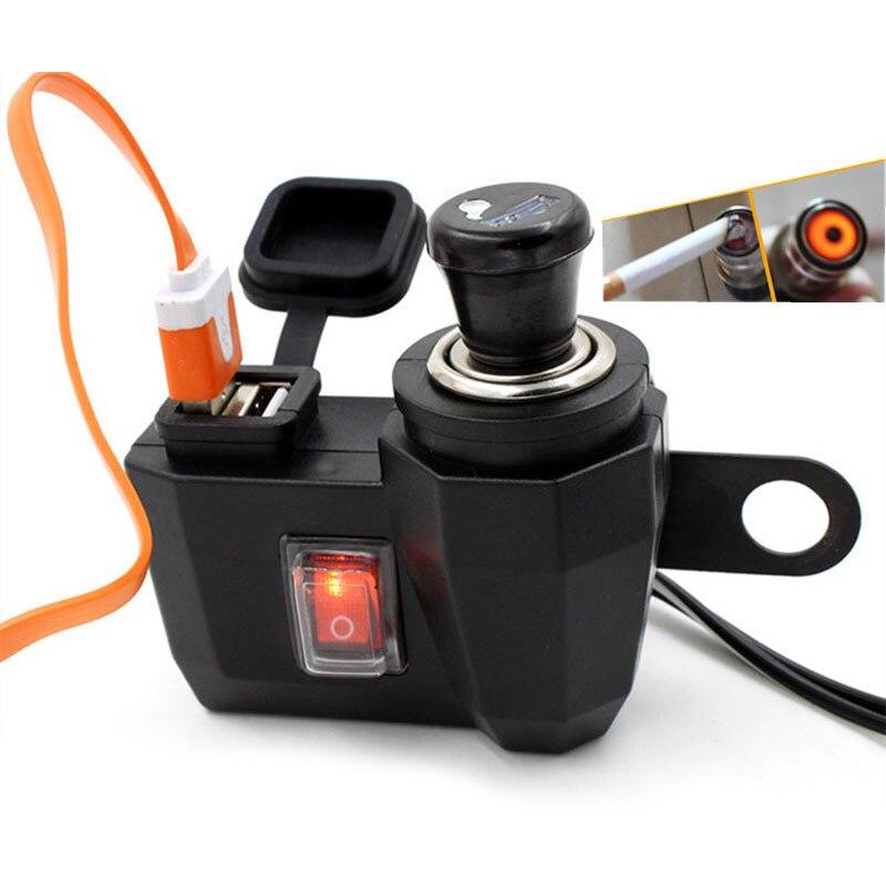 Nova Moto Motocicleta carregador do telefone À Prova D Água 12 V Isqueiro + 5V Porta De Alimentação USB Adaptador de Tomada Carregador