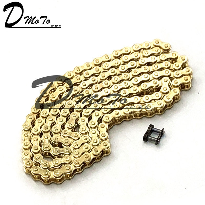 Gold Colour 25H Chain 144 Links with 1pc Spare Master Link For 2 Stroke 47cc 49cc Engine Mini Moto Dirt ATV Pocket Bike Go Kart