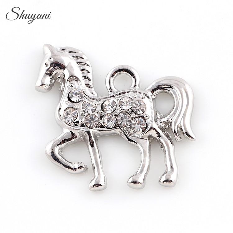 20*23mm métal argent/or couleur cheval charmes strass cristal cheval pendentif à breloques pour la fabrication de bijoux de bracelet à bricoler soi-même
