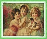 three beautiful angels printed canvas dmc counted chinese cross stitch kits printed cross stitch set embroidery needlework