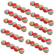 Livraison gratuite 50 pièces/sac arc-en-ciel couleur Golf formation balles en mousse balançoire de Golf intérieur formation aides pratique éponge balles en mousse