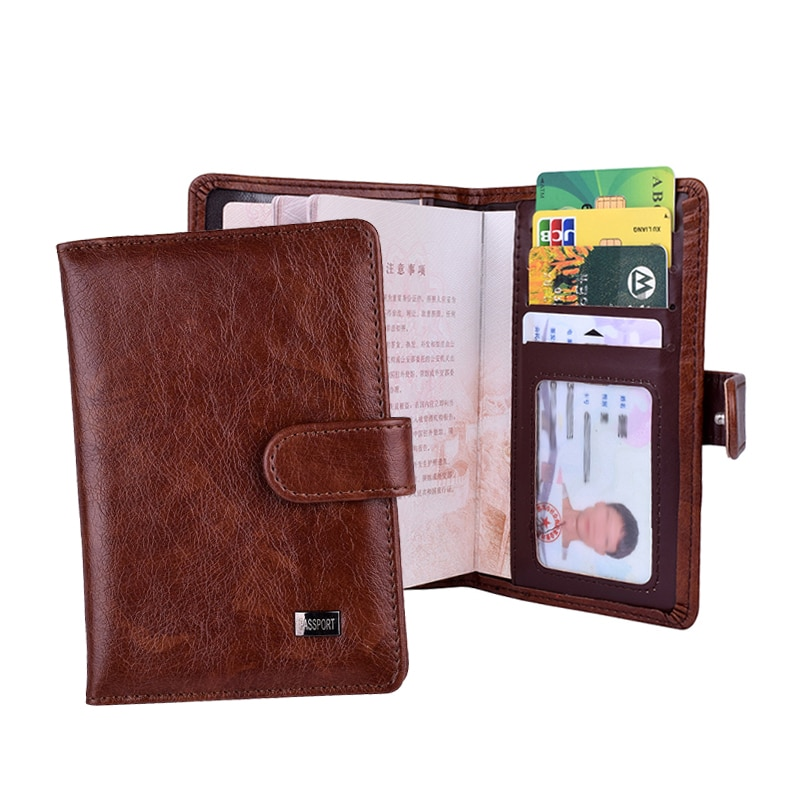 Leather Hasp Passport Cover Wallet Women Cards Credit Case Travel Document Covers Russia Men Passpor