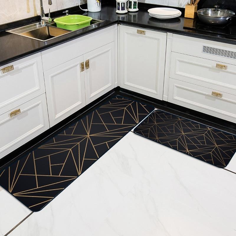 Nordic Style Geometric Kitchen Carpet Wear-Resistant Dirty Floor Doormats Kitchen Non-Slip Home Decor Bedroom Bedside Area Rugs