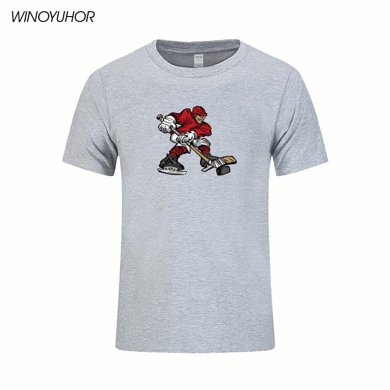 Camiseta de jugador de Hockey sobre hielo para hombre, pantalón corto Casual con mangas, Camiseta de cuello redondo, Camiseta deportiva con diseño moderno, Camisetas masculinas