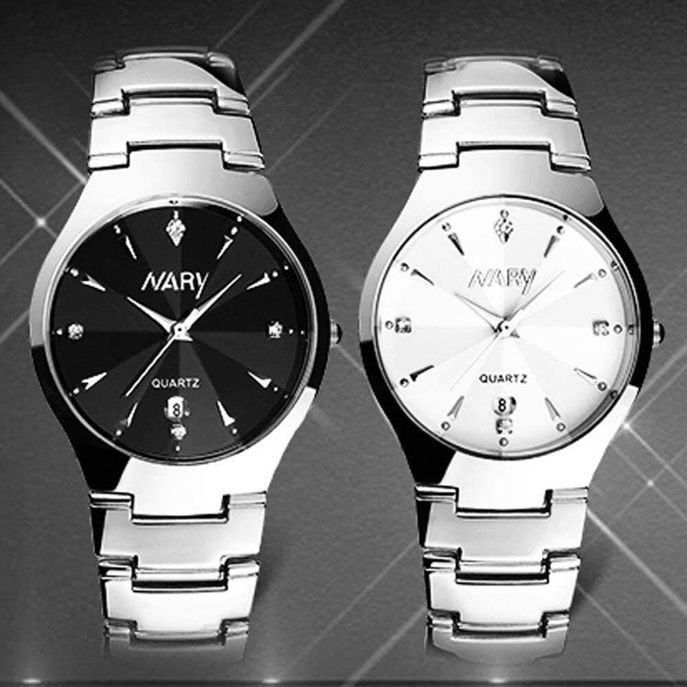 NARY Marca de Moda de Luxo Homens Assistir Calendário Único de Quartzo Data Mens Relógio de Pulso de Aço Inoxidável Relógios horloges mannen
