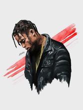 Autocollant mural Travis Scott-américain Hip Hop   Star de musique, affiche murale en soie, décoration toile légère, 2305A