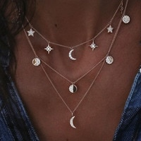 Gold Multilayer Crystal Choker Necklace 2019 Bohemian Layered Star Moon Pendant Vintage Necklace Women's Jewelry Party Gift