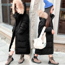 HSSCZL girls duck down jackets 2019 new boy winter thick long big girl outerwear overcoat Detachable hat children clothing 7-14Y