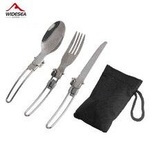 3 pièces 1 ensemble Portable extérieur Camping voyage pique-nique pliable en acier inoxydable ensemble de couverts cuillère fourchette couteau vaisselle livraison gratuite