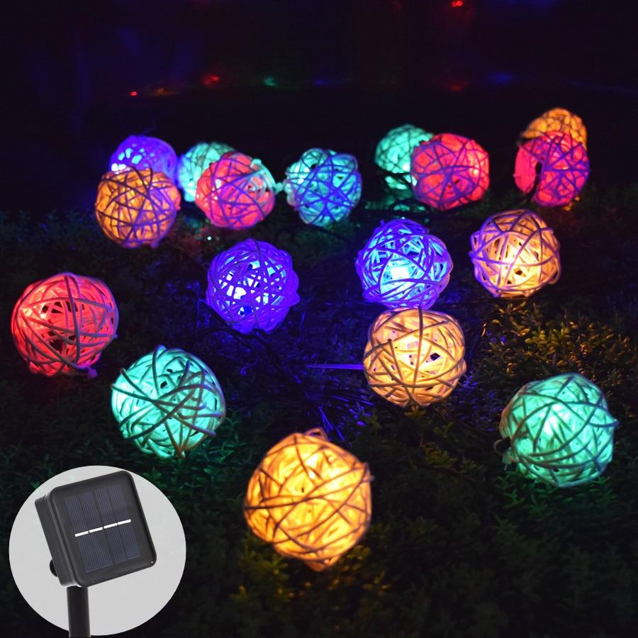 Ousam-إكليل من مصابيح LED تعمل بالطاقة الشمسية ، كرة روطان ، 6 أمتار ، 30 مصباح LED شمسي ، إكليل خرافي ، زينة حديقة الكريسماس