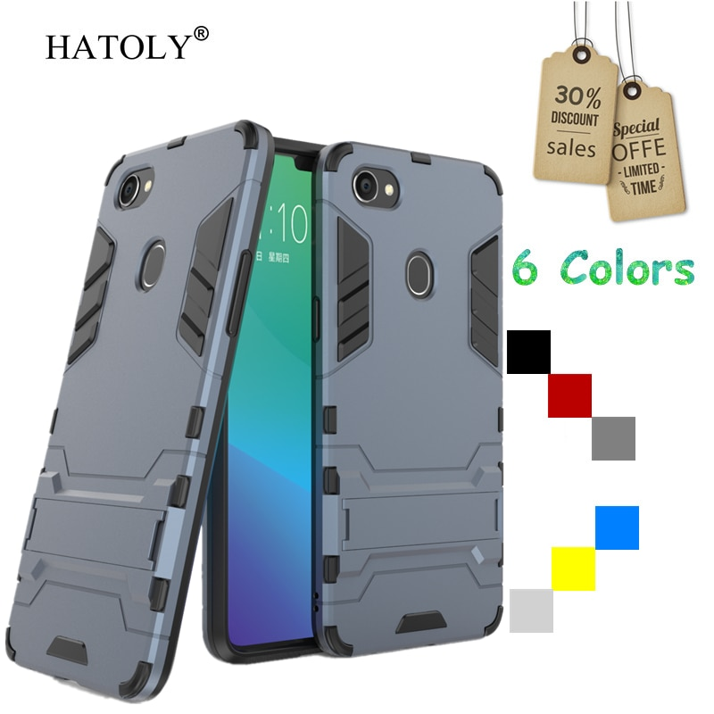 Para capa oppo f7 caso de borracha robô armadura escudo do telefone funda duro pc volta telefone capa para oppo f7 capa protetora para oppo f7