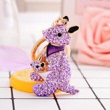 Porte-clés kangourou créatif porte-clés Animal strass complet porte-clés mignon voiture pendentif sac porte-clés cadeaux danniversaire